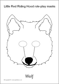 Little Red Riding Hood role-play masks - black and white (SB8738) - SparkleBox