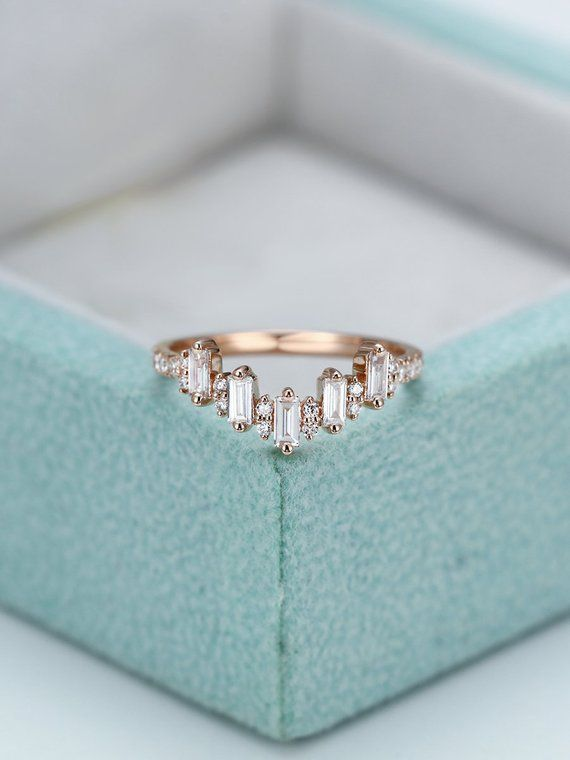 Baguette Diamond Ring Curved Wedding Band Rose Gold Gift For Women