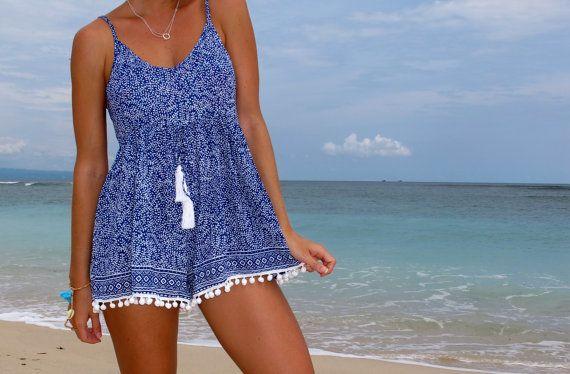 Pom Pom Jumpsuit / Playsuit, Short Beach Dress, Cobalt Blue Mini Leaf Print Skort Shorts