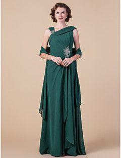 LAN TING BRIDE Fourreau / Colonne Grande Taille Petite Robe de Mère de Mariée - Etole Incluse Longueur Sol Sans ManchesMousseline de