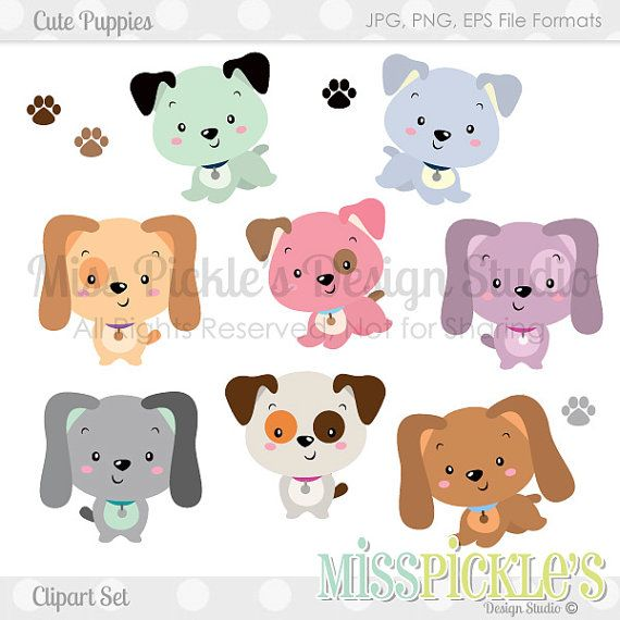 Cute Puppies- Commercial Use Clipart Set