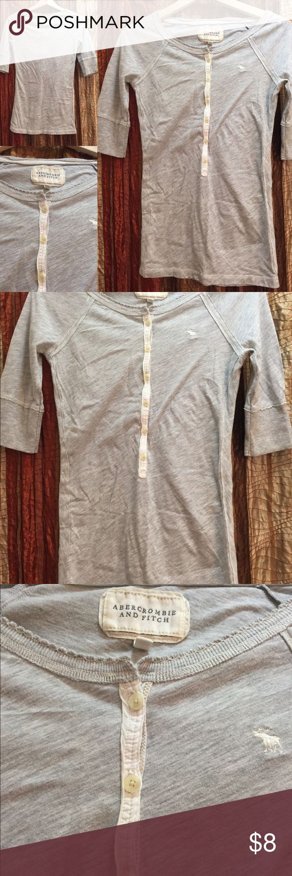 Abercrombie and Fitch Ballet Sleeve Henly 60/40 Cotton Poly HEATHERED Gray with white trim Henly style, ballet sleeves EUC Size Large Abercrombie & Fitch Tops