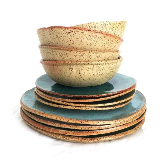 Rustic Dinnerware Set For 4 Handmade Pottery Set 4 8 12 Person Dinner Set Dinner Plates Ceramic Dessert Plates Ceramic Bowls Ceramic Dinnerware Set Dinnerware Sets Rustic Rustic Dinnerware
