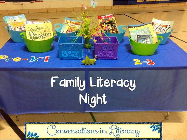 Family Literacy Night Tip in comments: Have families rotate to different rooms to learn a new activity.  Then give them resources to recreate the activity at home.
