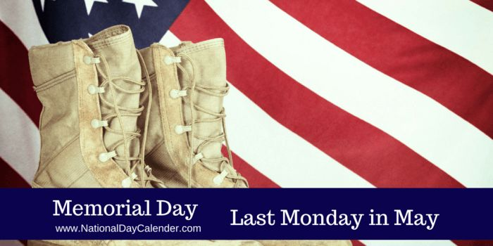 May 29, 2017 – MEMORIAL DAY – NATIONAL PAPERCLIP DAY – NATIONAL COQ AU VIN DAY