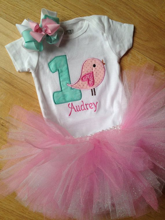 Personalized 1st birthday bird onesie, pink and sparkly white tutu, and matching hair bow on Etsy, $38.00