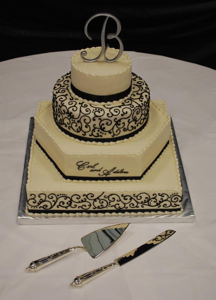 Square hexagon and round Wedding Cake