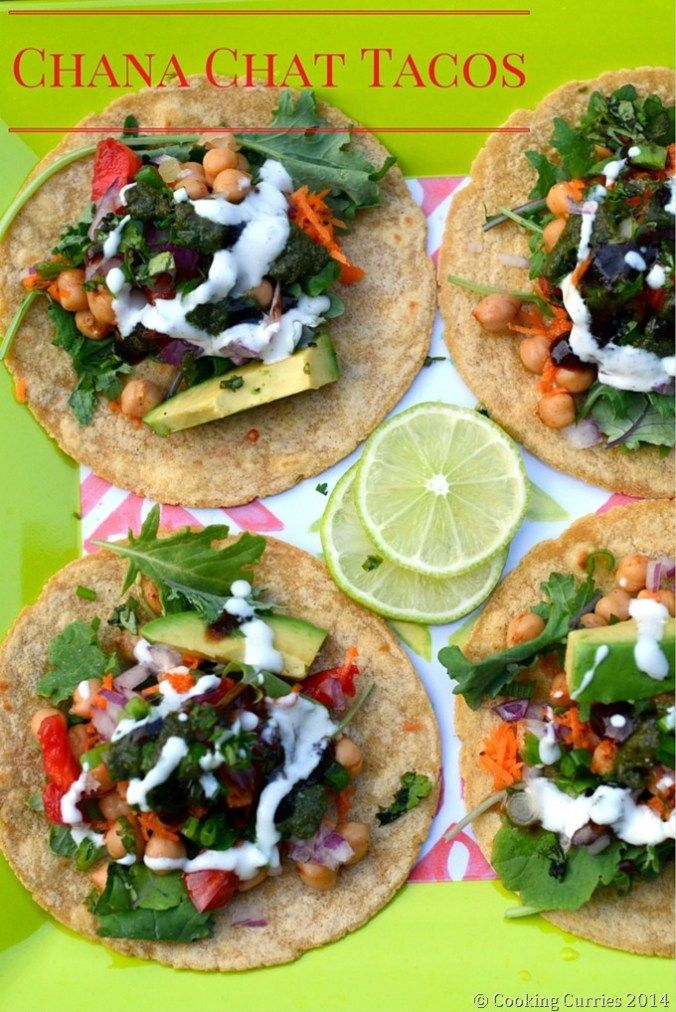 Chana Chat Tacos - Indian Food, Indian Street Food, Vegetarian, Indian Fusions Food - Cooking Curries