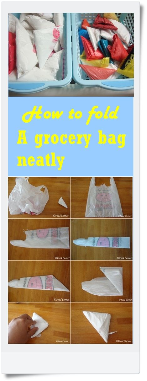 How to fold a grocery bag and store them neatly. Totally works and way better than the Lysol wipe container method.