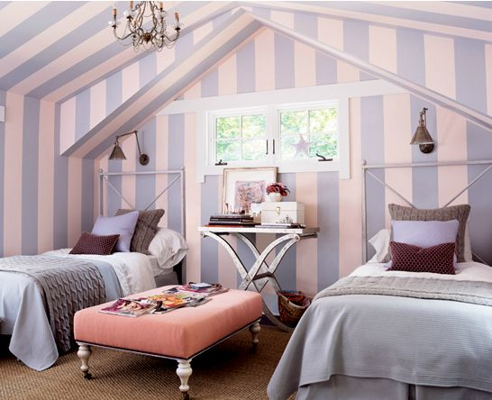 Would make a great guest room/striped wallpaper, twin beds
