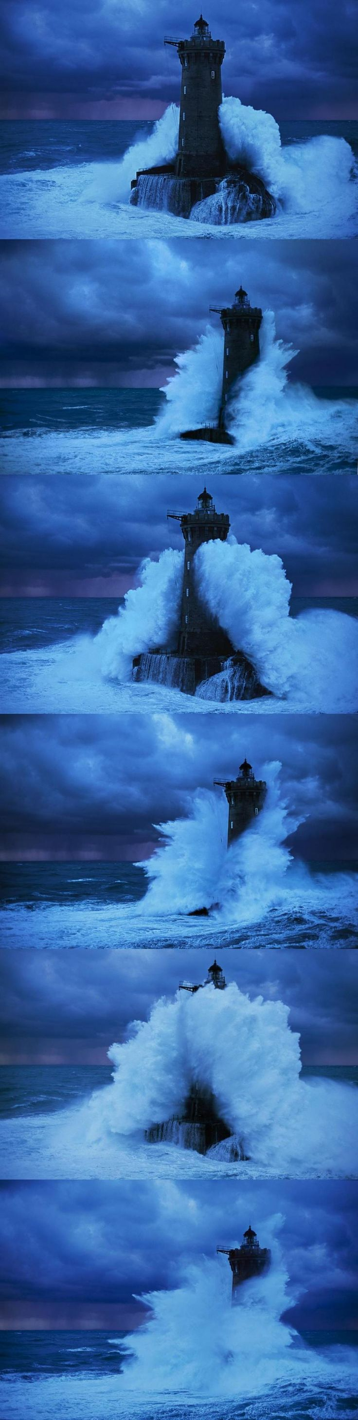 Storm waves engulfing a lighthouse, photo by...Jean Guichard.