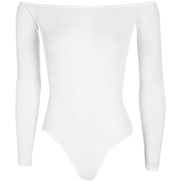 Boohoo Frances Rib Off The Shoulder Longsleeve Body ($16) ❤ liked on Polyvore featuring tops, bodysuit, off shoulder tops, ribbed crop top, white off shoulder top, basic white t shirt and high neck crop top