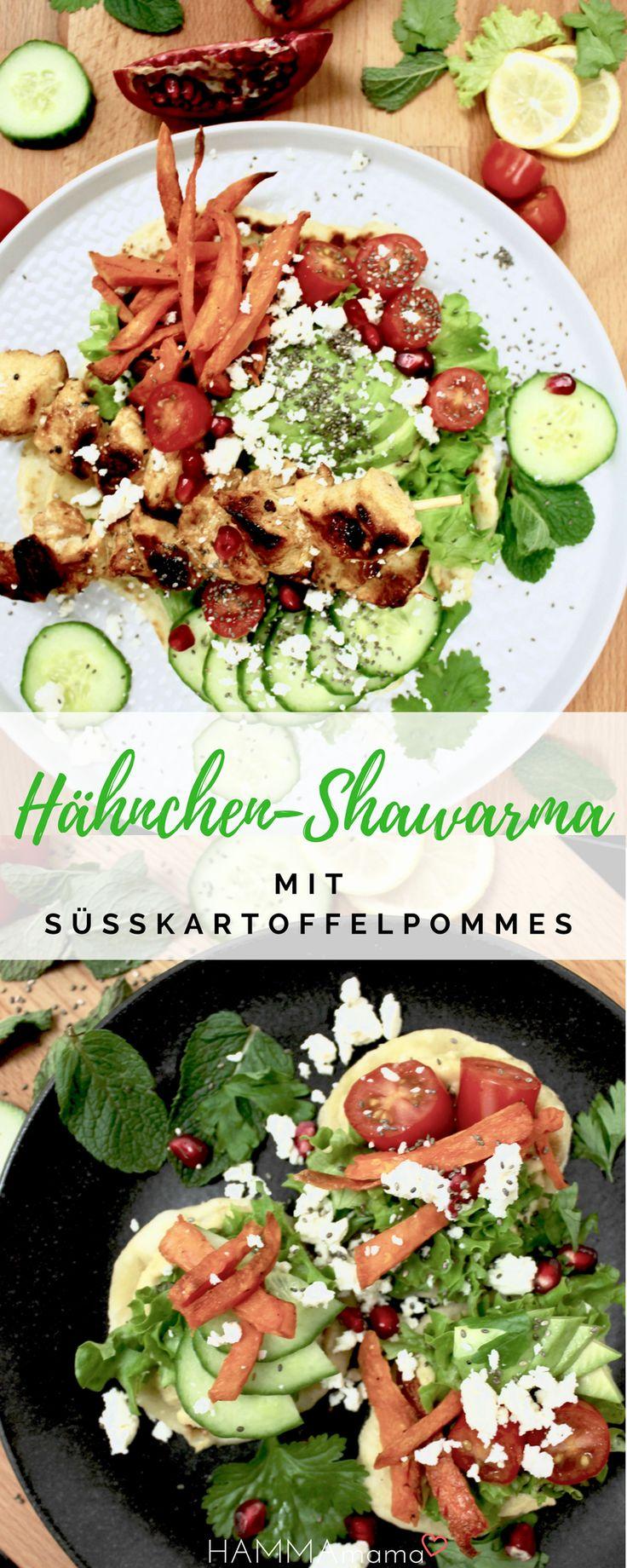 Gesundes und schnelles Hähnchen-Rezept für Shawarma mit knusprigen Süßkartoffelpommes aus dem Ofen