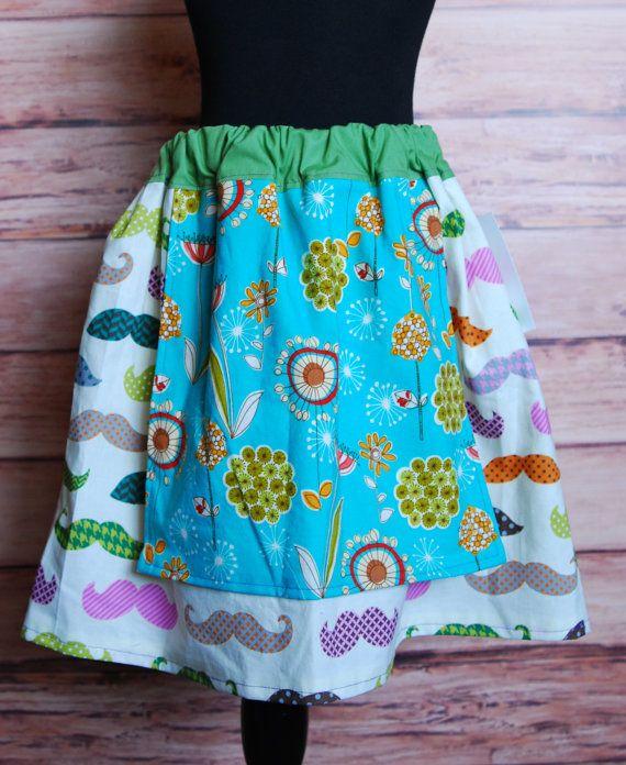 Mustache floral apron skirt twirl fun bright by LittleDivasnDudes, $20.00