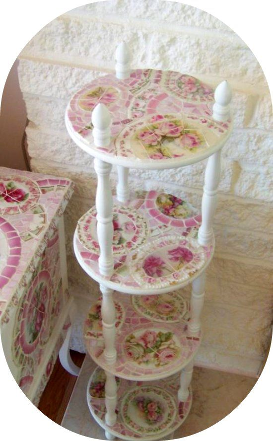 Shabby mosaic stand, pink rose stand, vintage china, limoges, RS Prussia mosaic     www.RomancingTheRoseStudio.com ©Website Design by: OneSpringStreet.NET 2011