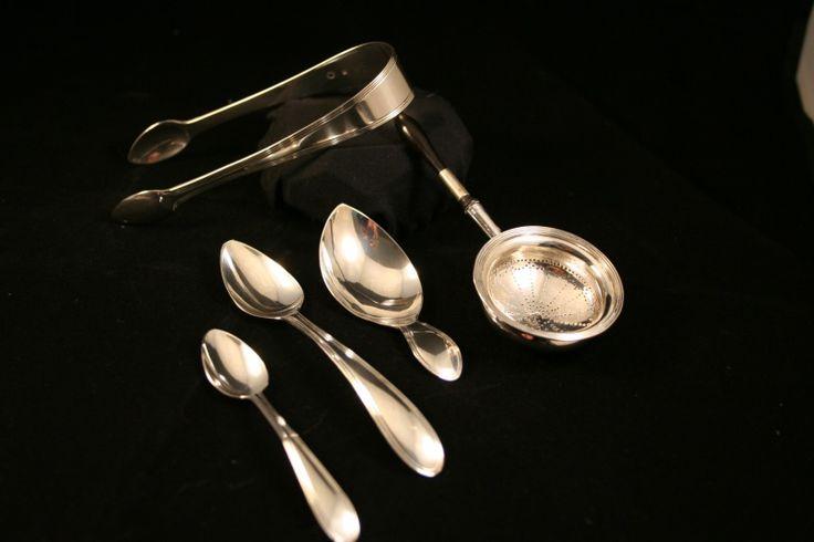 Set van tien zilveren theelepeltjes