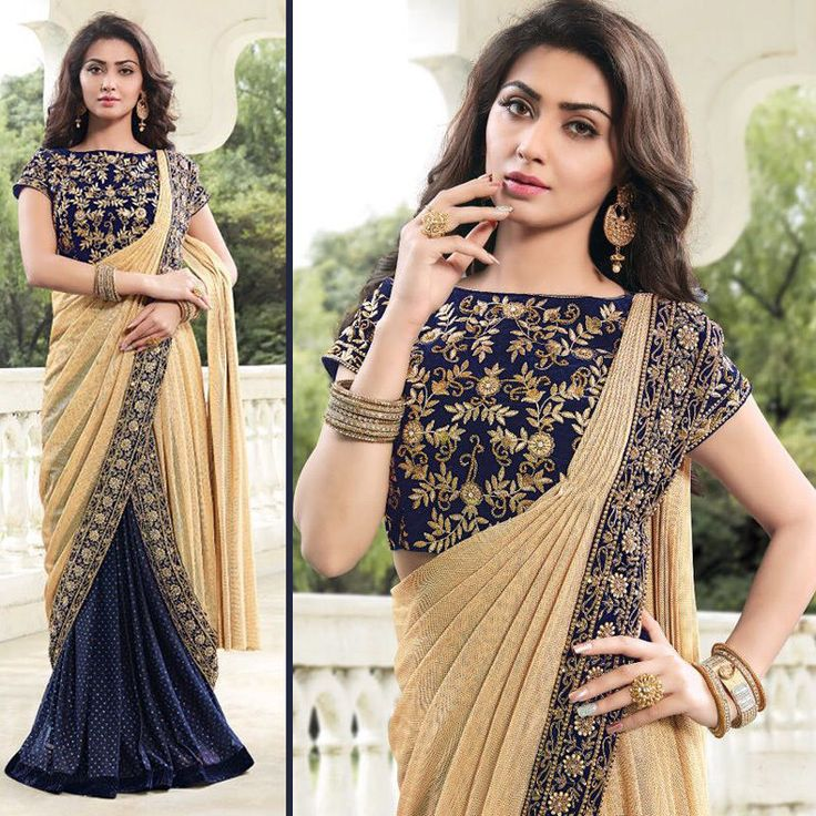Designer sarees bollywood blue color sari wedding bridal saree blouse fabric #Handmade #sareesari