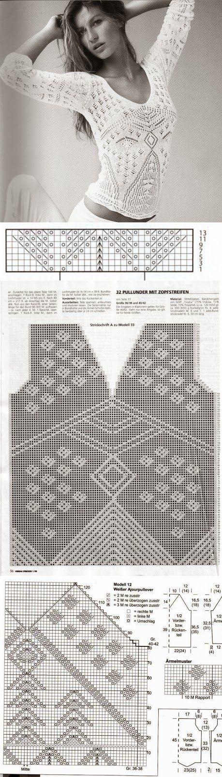 Dziana Moda: Biała bluzeczka koronkowa na drutach