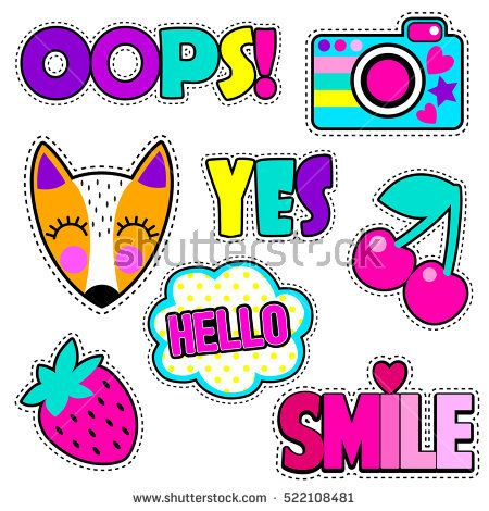 Set of cute stickers and different elements with fox, camera, cherry, strawberry, cloud and words.Girlish stickers in bright colors isolated on white background. Fashion patch badges in cartoon style.