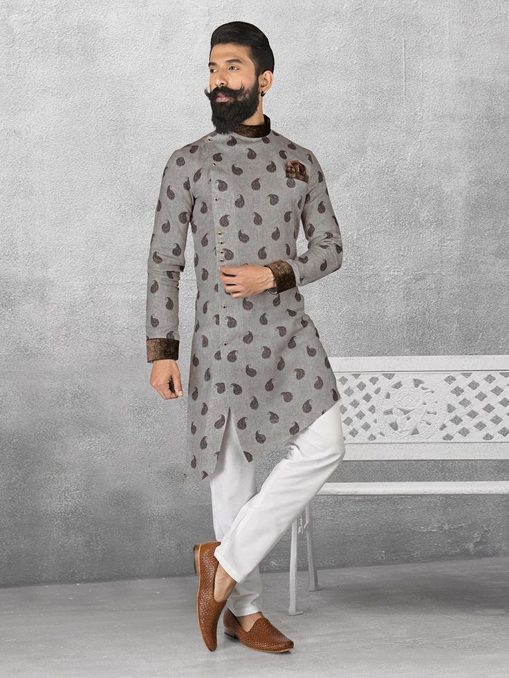 Linen grey color printed kurta suit - G3-MKS0510 | G3fashion.com