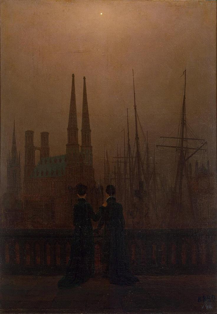 Caspar David Friedrich, Noche en el puerto, 1818. Romanticismo alemán