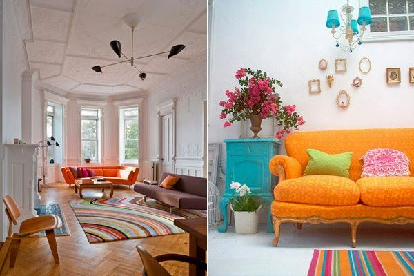 17 best ideas about orange sofa on pinterest honeycomb for Alfombras para salas modernas