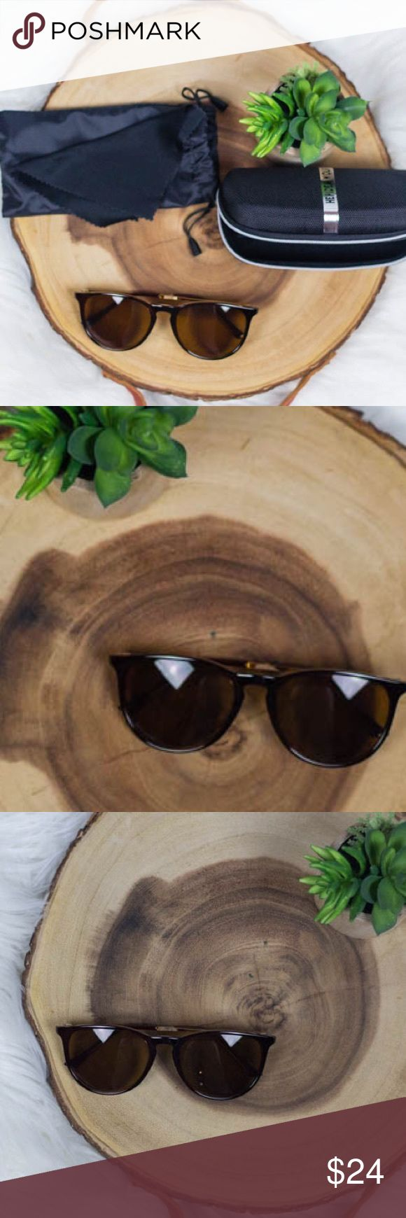 """Brown Erika style sunnies sunglasses 😎☀️ ERIKA style sunnies! ☀️   boutique brand! Retro style sunglasses. Each pair includes soft drawstring case, hard zipper case, and cleaning rag. Available in tortoise, matte black, and brown! Please see my other listings!   Width- 5.5""""  🚫trades 🚫lowball offers boutique Accessories Sunglasses"""