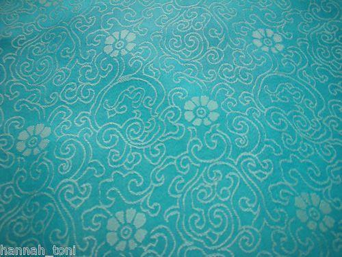 DRESS AQUA BLUE FLORAL SILK SATIN CHARMEUSE FABRIC by y
