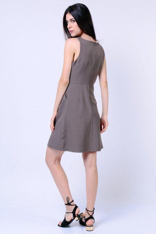 Stitched Trim Dress (Sage)