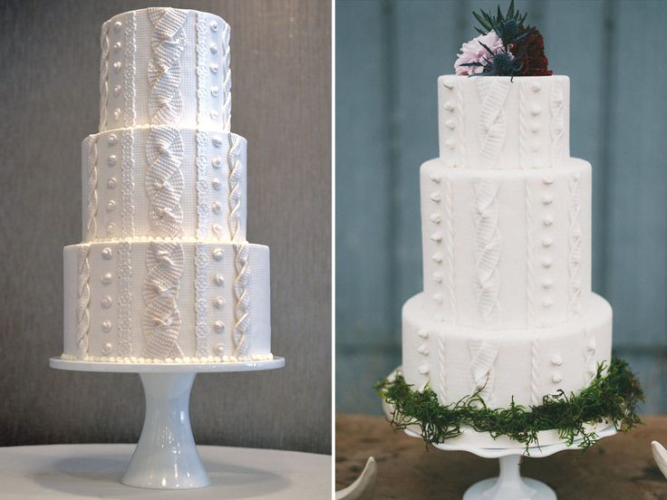 Pretty Cable-Knit Wedding Cakes Perfect for Your Winter Wedding | Photo by: CARLA SCHIER/HONEY CRUMB CAKE STUDIO; LV Imagery | TheKnot.com