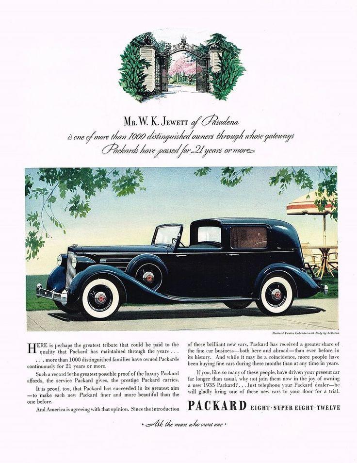 1935 BIG Vintage Packard Twelve 12 Le Baron Lebaron Cabriolet Car Art Print Ad