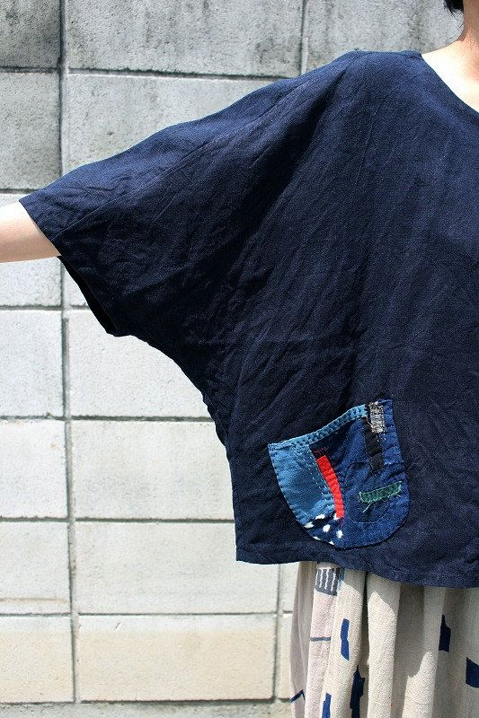 Antique linen dolman sleeve indigo blouse/French by SASAKIYOHINTEN