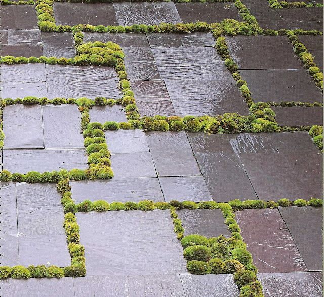 Great design for a garden / outdoor flooring  Love the contrast of the Dark Slate with the grass  #PinterestandDesignWeek