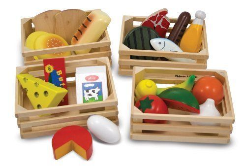 KITCHEN PLAY FOOD SET Lot Dishes Group Wooden Toy Preschool Pretend Role Game #MelissaDoug