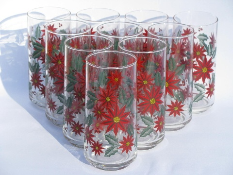 allover red poinsettia pattern glasses set of 10 Christmas print glass tumblers & 52 best vintage Christmas dinnerware - dishes glasses and linens ...