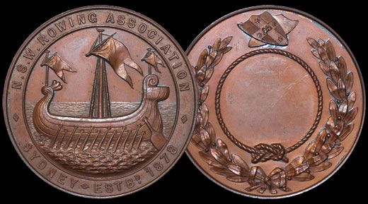Historic medallion from 1878 to mark the Australian inter-colonial rowing championships.