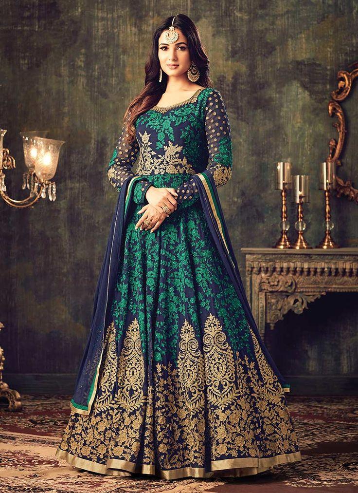 Buy Blue Georgette Abaya Style Anarkali Suit, anarkali-suit Online Shopping, SLSCC4705