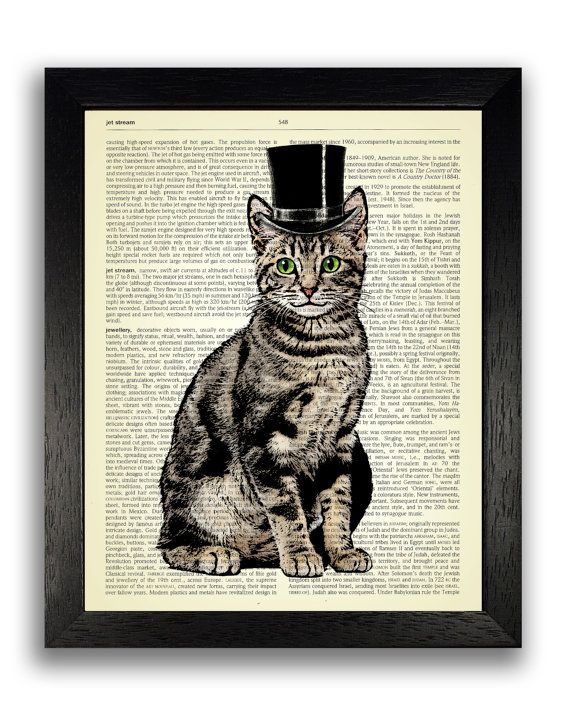 Top Hat Cat Art Print on Dictionary Page Cat by TopLondonPrints