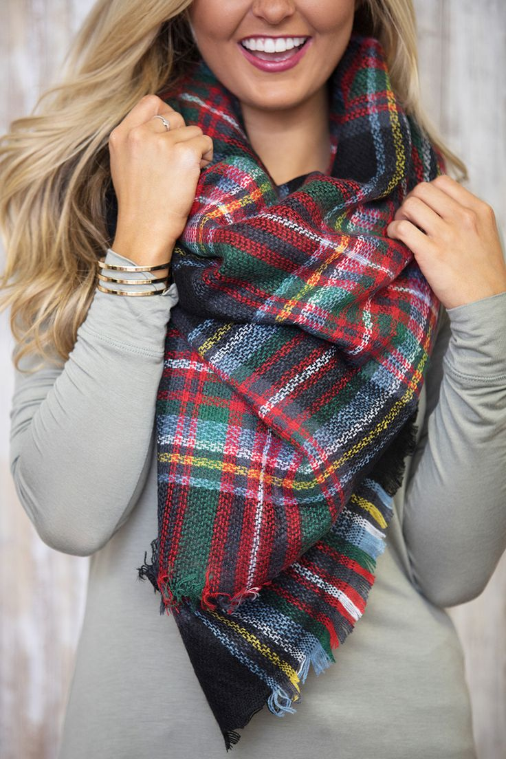 Bonfire Heart Plaid Blanket Scarf - The Pink Lily