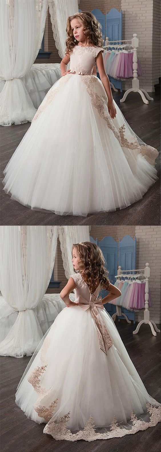 Marvelous tulle u satin jewel neckline ball gown flower girl dresses