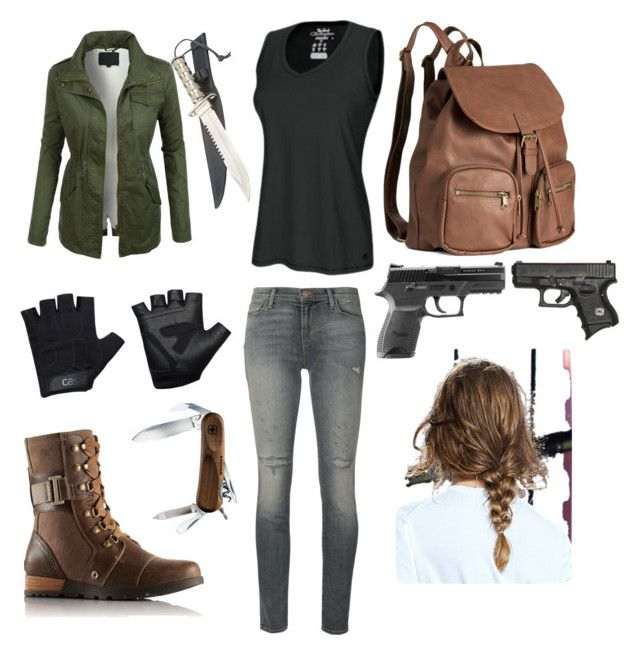 """""""Surviving the zombie apocalypse"""" by jinx-the-nerd ❤ liked on Polyvore featuring LE3NO, J Brand, SOREL, Champion, H&M, Casall, Wenger, women's clothing, women and female"""
