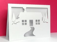 house scene card with free SVG cut file from Bird's Cards