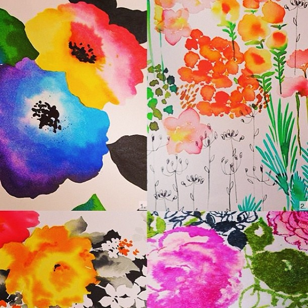 #FLORAL PRINTS FROM SURTEX NYC ...especially note line work in upper right image.