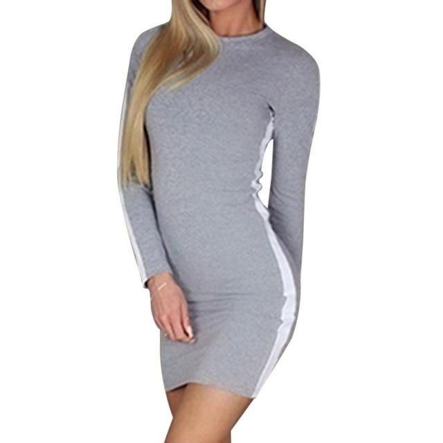 LITTHING 2018 New Autumn Casual Slim Stripe O Neck Dress Women Mini Dress Bodycon Sexy Tight Long Sleeve Tight Patchwork Dresses