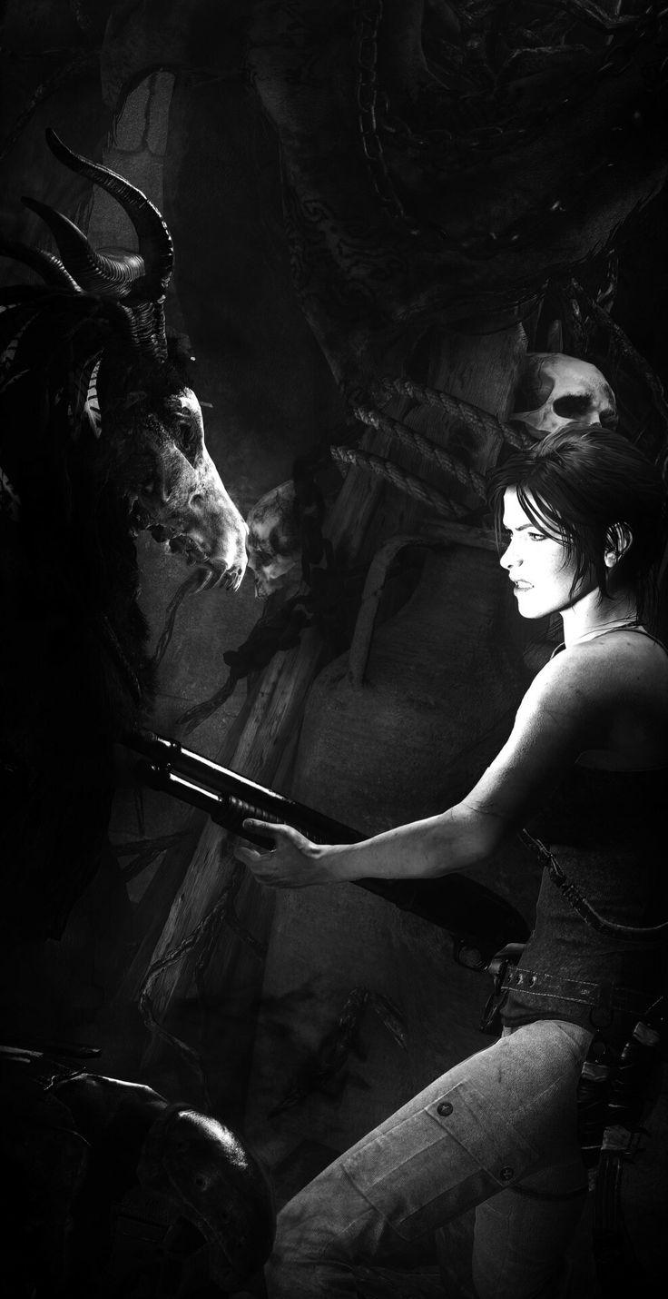 Lara with shortgun