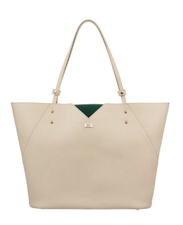 Veronica Tote In Stone Saffiano Leather White Bag Handbag Designer