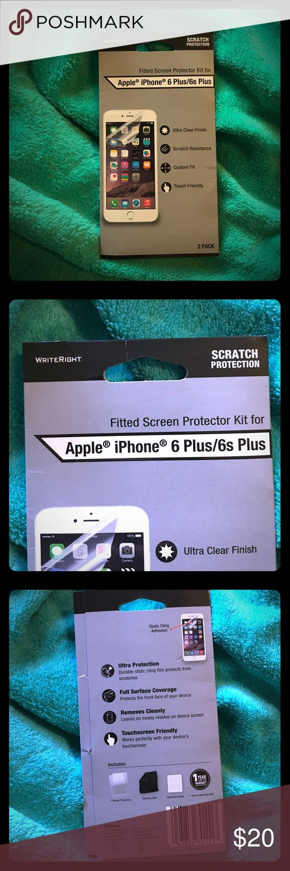 ✨IPhone 6Plus/6sPlus Screen Protector Kit✨ ✨WriteRight Apple iPhone 📱 6Plus/6sPlus Screen Protector Kit✨ 2 pack ✨Never opened✨ Still sealed✨Ultra clear finish✨Scratch Resisant✨Custom fit to iPhone 6Plus generation✨ Add to a bundle🛍 Always open to offers🤗 Accessories