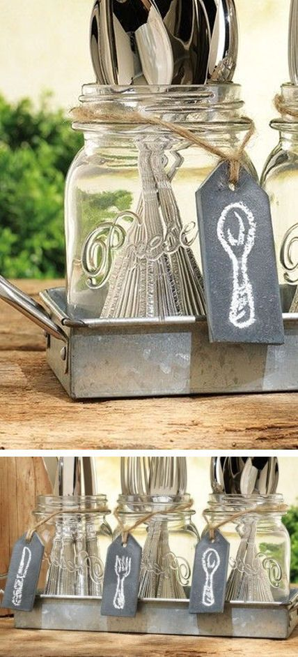 DIY inspiration-Mason Jar Flatware Caddy
