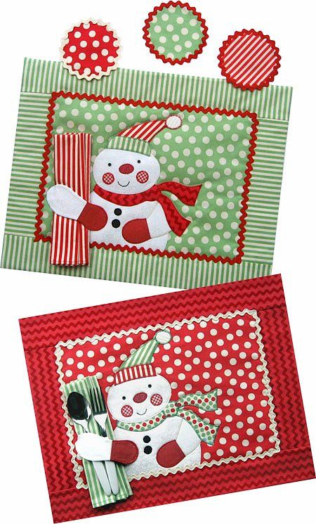 Jolly Snowman Placemat, Napkin & Coaster Pattern - The Virginia Quilter