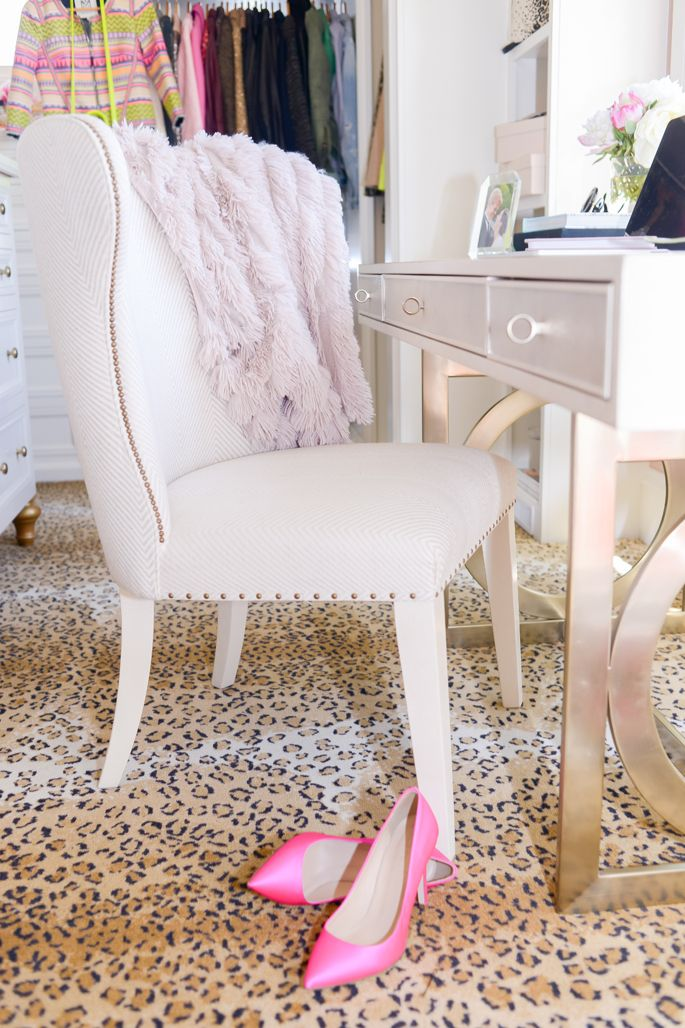 Dream closet tour - leopard carpet and mini office space.